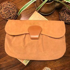 Suede Leather Clutch Bag - Vintage Burlington